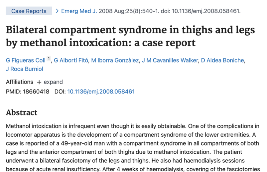 Bilateral compartment syndrome in thighs and legs by methanol intoxication