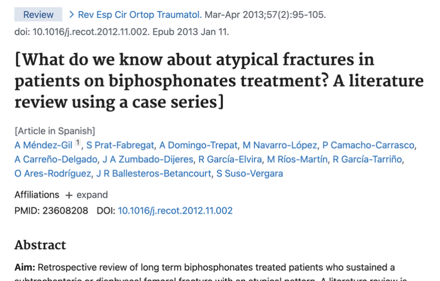 What do we know about atypical fractures in patients on biphosphonates treatment